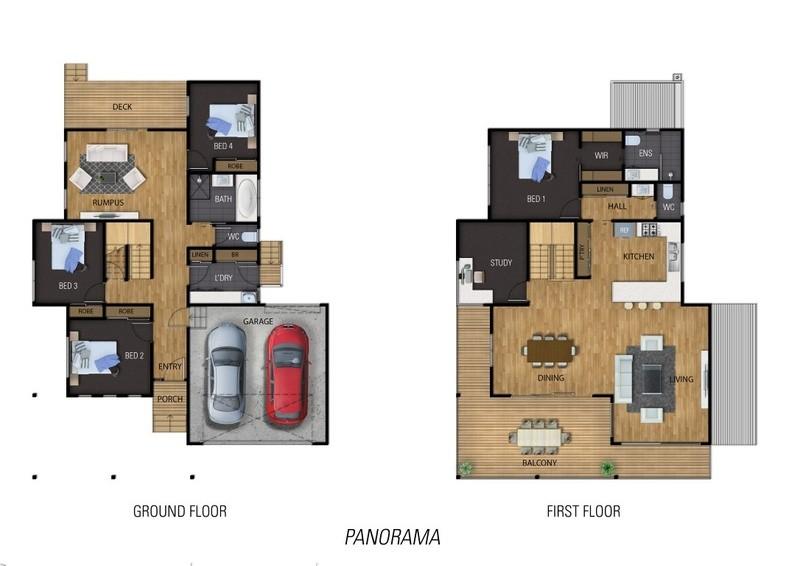 4 beds, 2.5 baths, 2 cars, 32.59 square floorplan