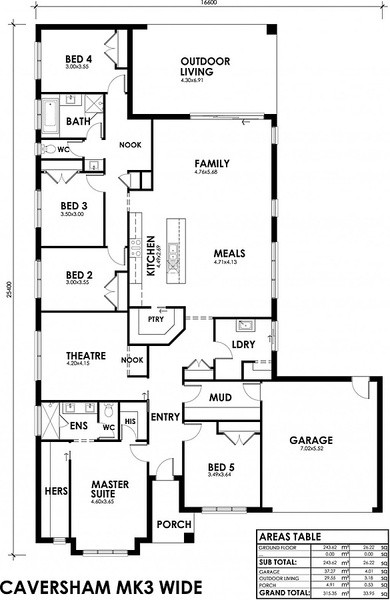 5 beds, 2 baths, 2 cars, 33.95 square floorplan