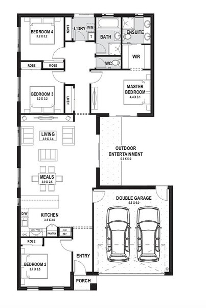 4 beds, 2 baths, 2 cars, 27.76 square floorplan
