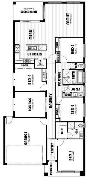 4 beds, 2 baths, 2 cars, 25.83 square floorplan