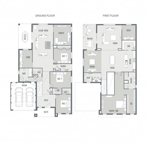 4 beds, 2.5 baths, 2 cars, 52.57 square floorplan