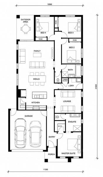 4 beds, 2.5 baths, 2 cars, 24.07 square floorplan