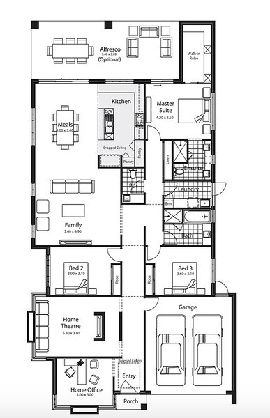 3 beds, 2 baths, 2 cars, 27.20 square floorplan