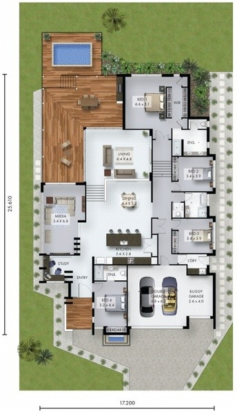 4 beds, 3 baths, 2 cars, 43.41 square floorplan